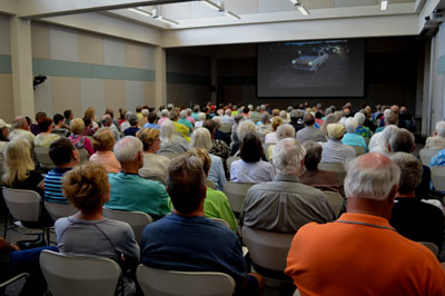 "A ""River to River: Iowa's Forgotten Highway 6"" screening event at the Bettendorf, Iowa Public Library."